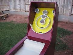 OMG! Homemade Skeeball Game.... I want to this! Skeeball is my favorite!!!!