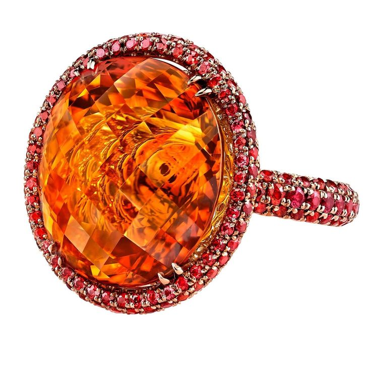 Mandarin Orange Citrine and Orange Sapphires Gold Ring   | From a unique collection of vintage fashion rings at https://www.1stdibs.com/jewelry/rings/fashion-rings/