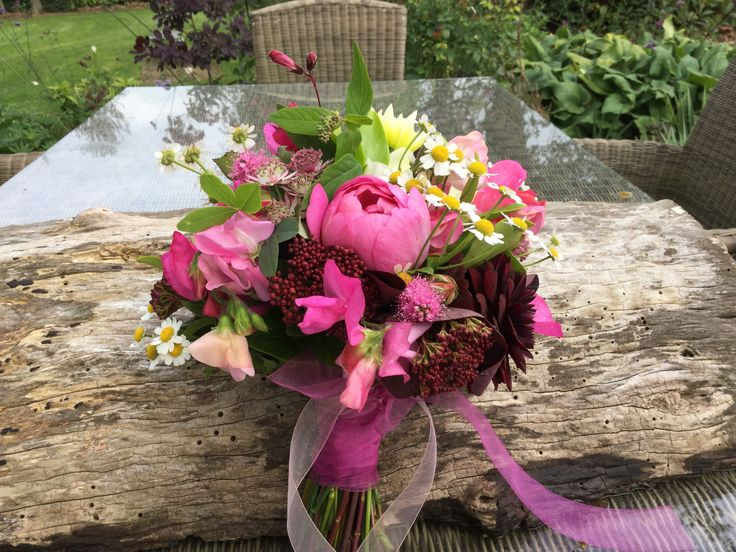 British flowers # Homegrown #Fresh from our cottage garden #Wedding bouquet #David Austin roses #Deep burgundy Dahlias #Feverfew #Sweetpeas #Penstemon #Chiffon Ribbons. All enquiries email:- vick@bloominglovelyflowersandplants.co.uk