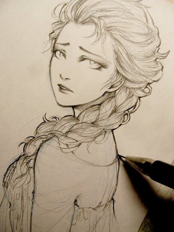 A portrayal of Elsa's (from Frozen) loneliness in the colf world, by ZiZinG: Sketches of Sad Girls.