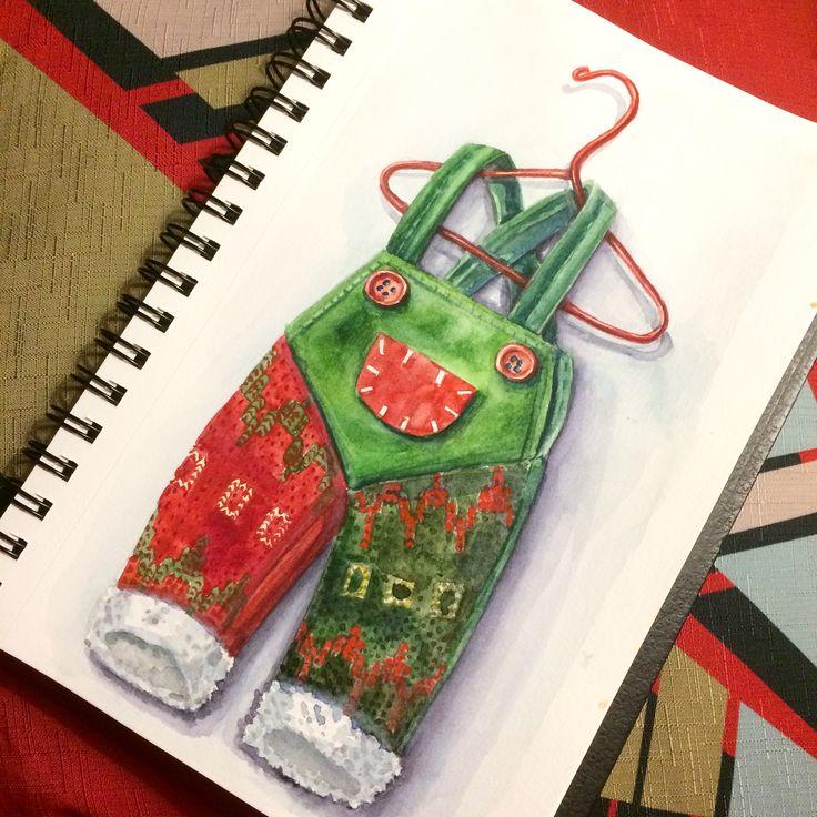 Новогоднее украшение, акварель