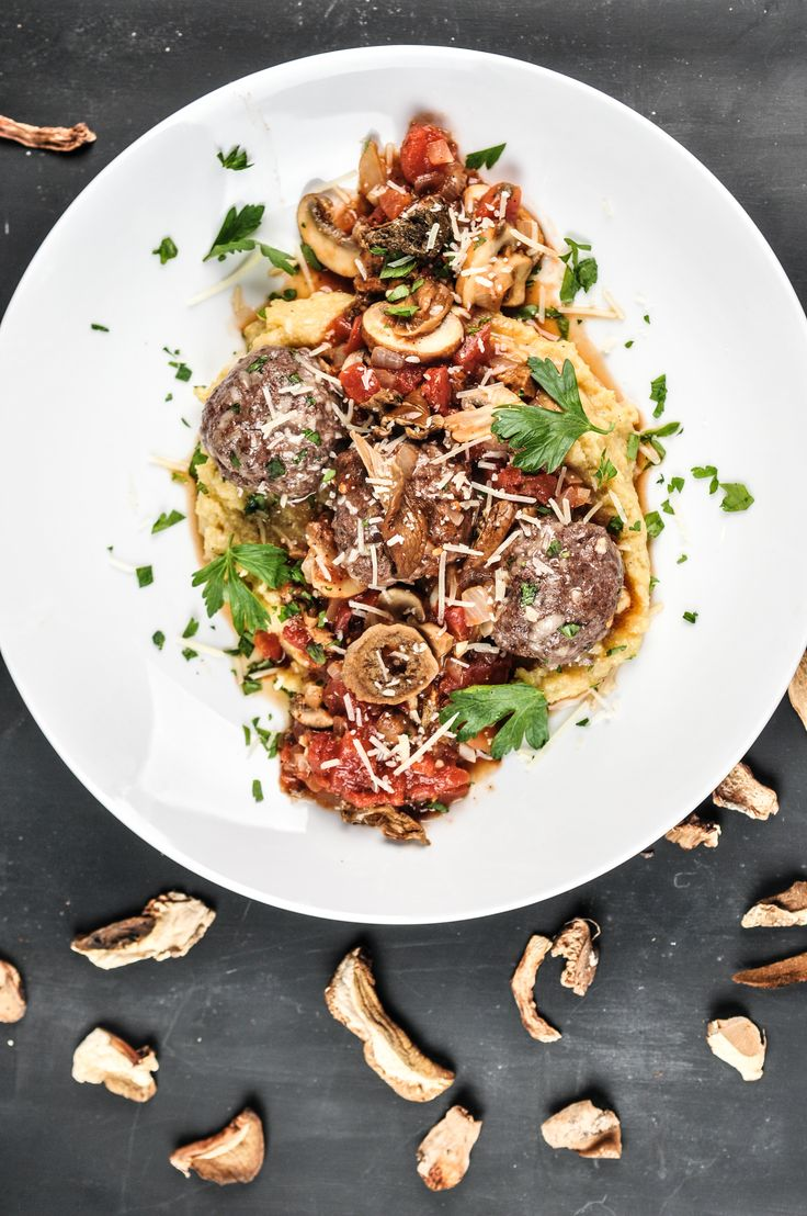 Beef Meatball and Mushroom Polenta With Rich Porcini Ragout and Asiago ...