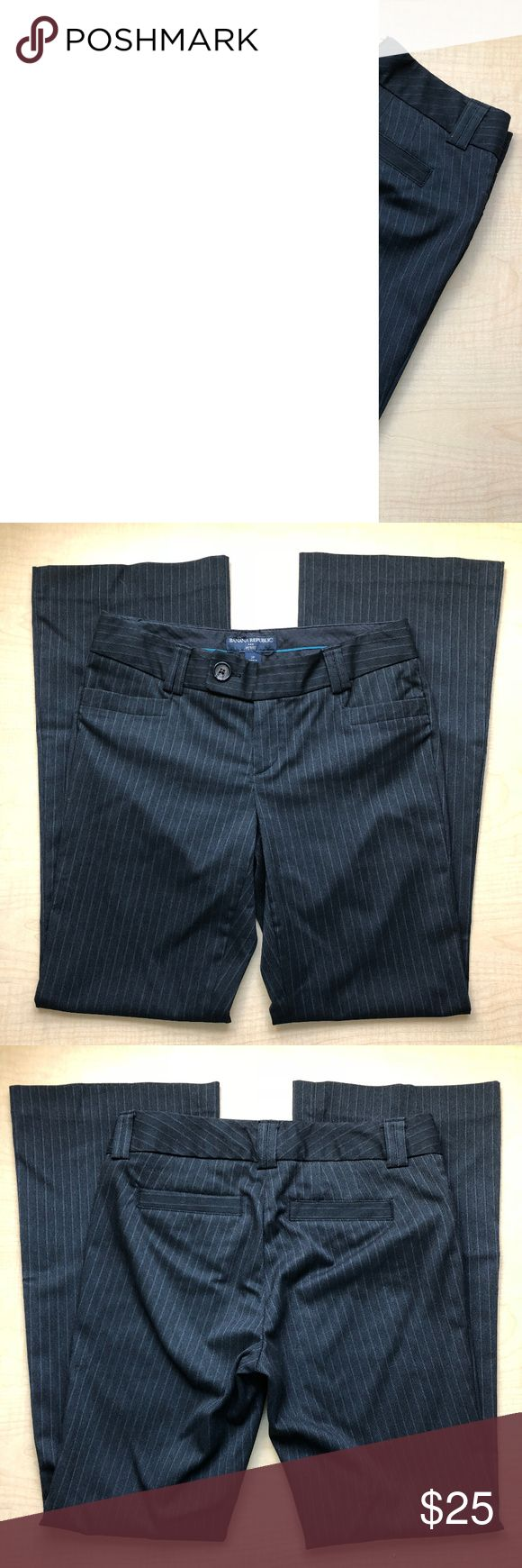 """Banana Republic Black Stripe Dress Pants Banana Republic Black Stripe Dress Pants Materials: Polyester/Viscose/Elastane (But these do not stretch much) Measurements while laying flat: Inseam: 30"""" Waist: 15"""" Let me know if you have any questions, I'll reply within 24 hours. Banana Republic Pants Boot Cut & Flare"""