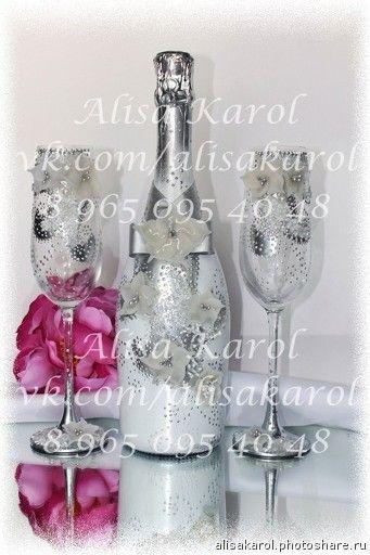Авторские свадебные аксессуары. Свадебные аксессуары (бокалы и шампанское) серебряные (Свадьбы)