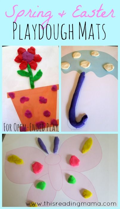 FREE Open-Ended Spring-Themed Playdough Mats ~ 4 Spring Mats and 4 Easter Mats, great for encouraging creativity and fine motor skills   This Reading Mama