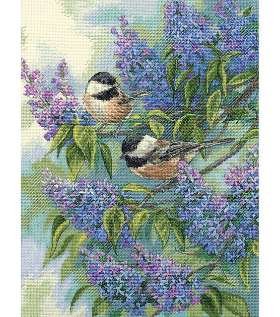 Dimensions Gold Collection Chickadees & Lilacs Counted Cross Stitch Kit at Joann.com