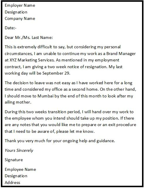 The  Best Standard Resignation Letter Ideas On