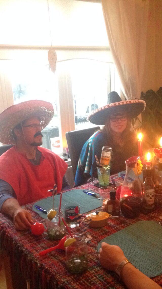Mexican theme party. Sombreros. Sugar skulls. Flowers. Mexican bull dog margaritas.