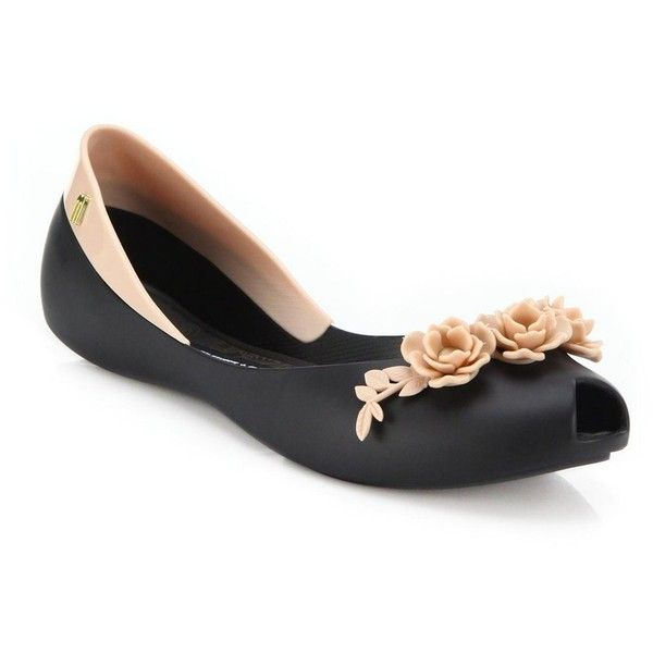 Melissa Flower Queen Peep-Toe Flats ($115) ❤ liked on Polyvore featuring shoes, flats, apparel & accessories, black, kohl shoes, peep toe flat shoes, flower shoes, flat peep-toe shoes and black peep toe flats