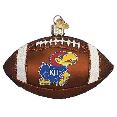 University of Kansas Football Christmas Ornament Introduced 2010 62500 Merck Family Old World Christmas University of Kansas - Jayhawks Kansas Football ornament measures approximately
