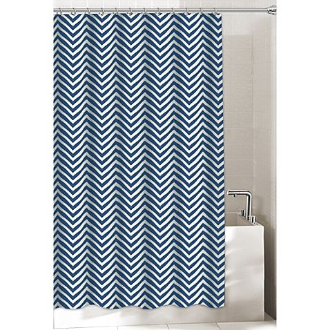 Get A Classic Refreshing Look In Your Bathroom With This Navy And White Chevron Patterned Fabric Curtain Bold Modern It Adds Style Texture To The