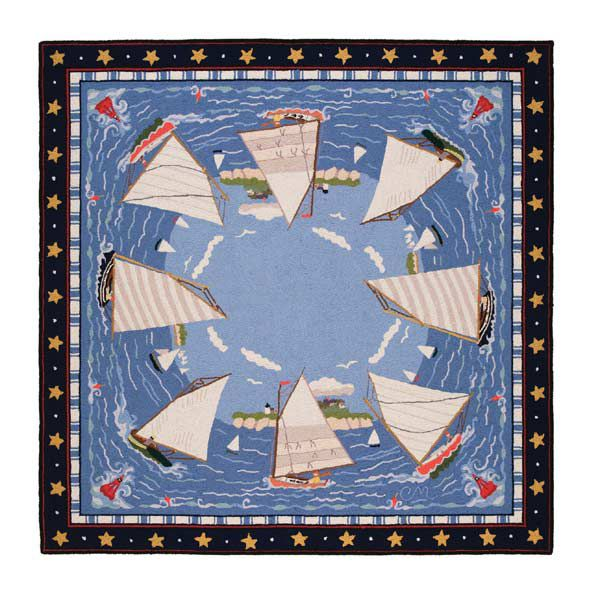 The Claire Murray Cape Cod Cat Boats Are Clic Nautical Hand Hooked Rugs Bright Bold Reds And Navy Blues Surrounded By Stars Buoys