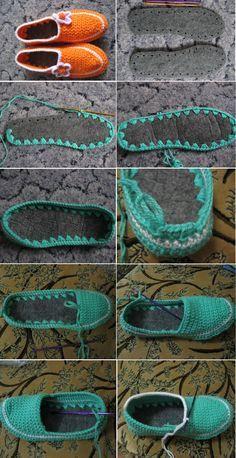 Patrones Crochet: Como hacer Zapatillas de Ganchillo desde unas Suelas #ganchillo #zapatosganchillo