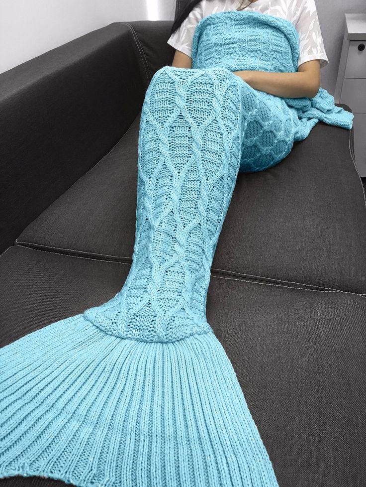 Yarn Knitted Mermaid Tail Blanket Handmade Crochet Mermaid Blanket adults Throw Bed Wrap Super Soft Sleeping Bed