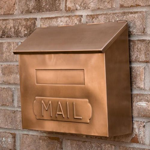 "Horizontal+""MAIL""+Wall-Mount+Copper+Mailbox+-+Antique+Copper"