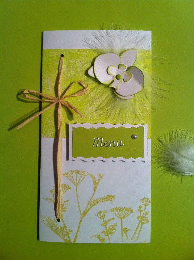menu vert anis mariage orchid e et plume mon faire part est unique mariage pinterest. Black Bedroom Furniture Sets. Home Design Ideas