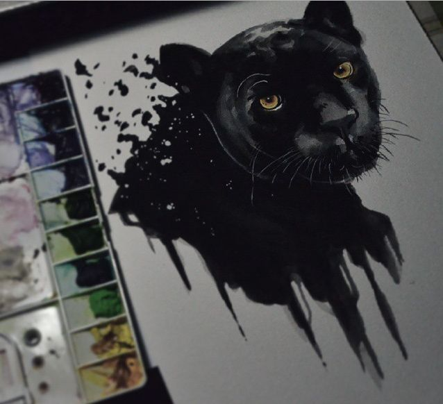 black panther . media : watercolor(alpha) on 300gsm watercolor paper(campap)
