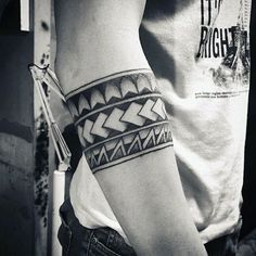 Tribal Black Ink Negative Space Male Armband Tattoos