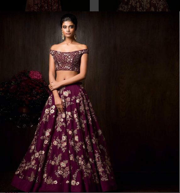 Embroidered Lehenga Of Wine Color