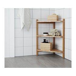 IKEA - RÅGRUND, Lavabo/tablette angle, , L'espace sous le lavabo peut servir de rangement si vous accolez deux tablettes ensemble.Le bambou est un matériau naturel et résistant.