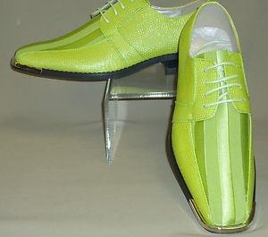 Mens Bright Lime Neon Green Satin Silvertip Formal Dress Shoes Viotti