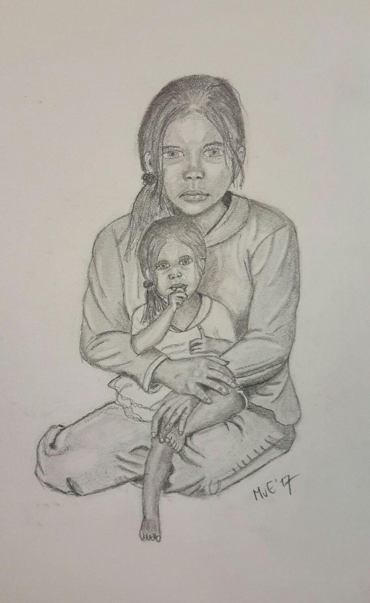 """""""De moeder het kind."""" Potloodtekening"""