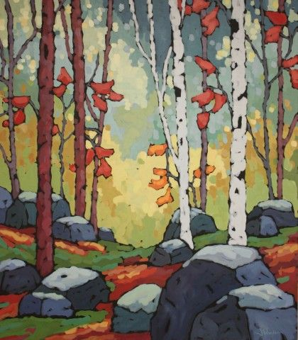"Jennifer Woodburn ""A Stone's Throw"" 48x42 inches, acrylic on canvas, painting of Niagara Escarpment forest, Bruce Trail"