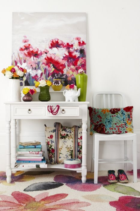 BRIGHT FLORALS  GOODHOMES MAGAZINE MAY 2012 STYLING EMMA CLAYTON PHOTOGRAPHY JOANNA HENDERSON