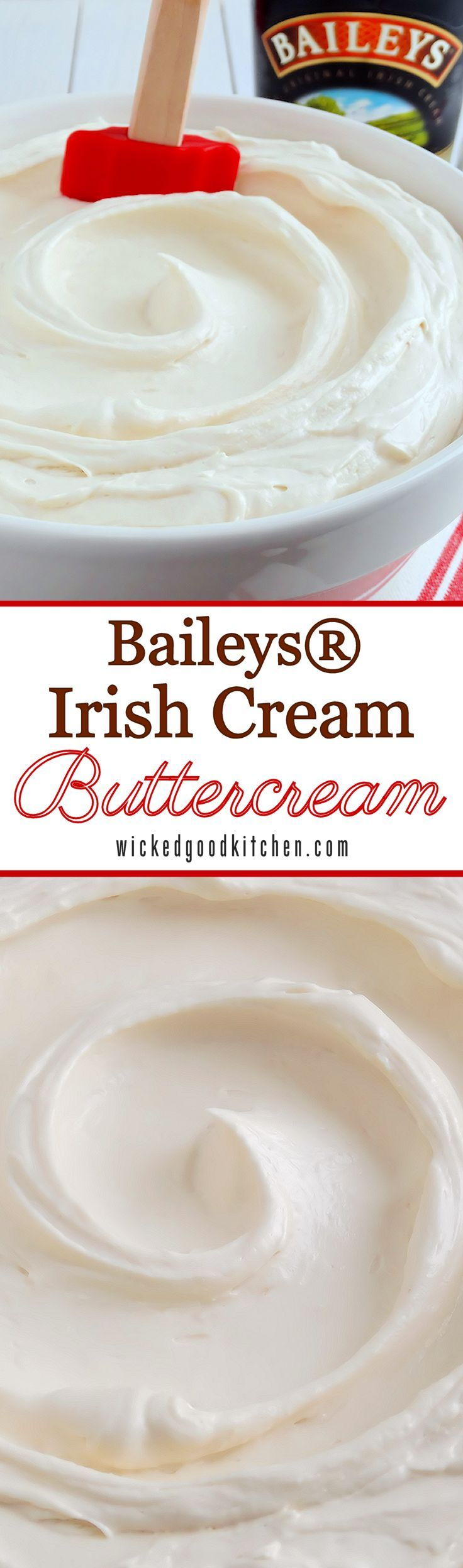 Creamy, silky and incredibly light, infused with plenty of Baileys® Irish Cream imparting pleasing caramel notes, melts on the tongue and is not too sweet, this is the perfect frosting for cakes and cupcakes! Recipe includes variation for Baileys® Coffee Buttercream. You will LOVE this one! | cake dessert filling