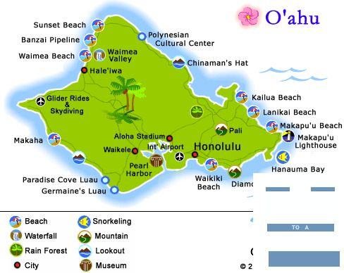 Navigating Oahu's Circle Island Tour-The best way to see the Hawaiian Island of Oahu is by driving a self-directed route around the island's perimeter.  This 119 mile, one day tour will allow you to hit all of the crucial spots and will give you insight as to what areas to further examine on another day.