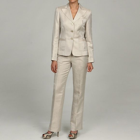 Calvin Klein Women's Khaki Pant Suit Never worn, Classic and refined linen-blend pant suit with a 3-button jacket and flat-front pants. Calvin Klein Other