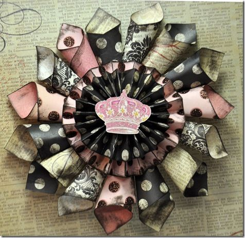 Pink and Black Paper Wreath- good idea for banners. DIY paper craft decoration.