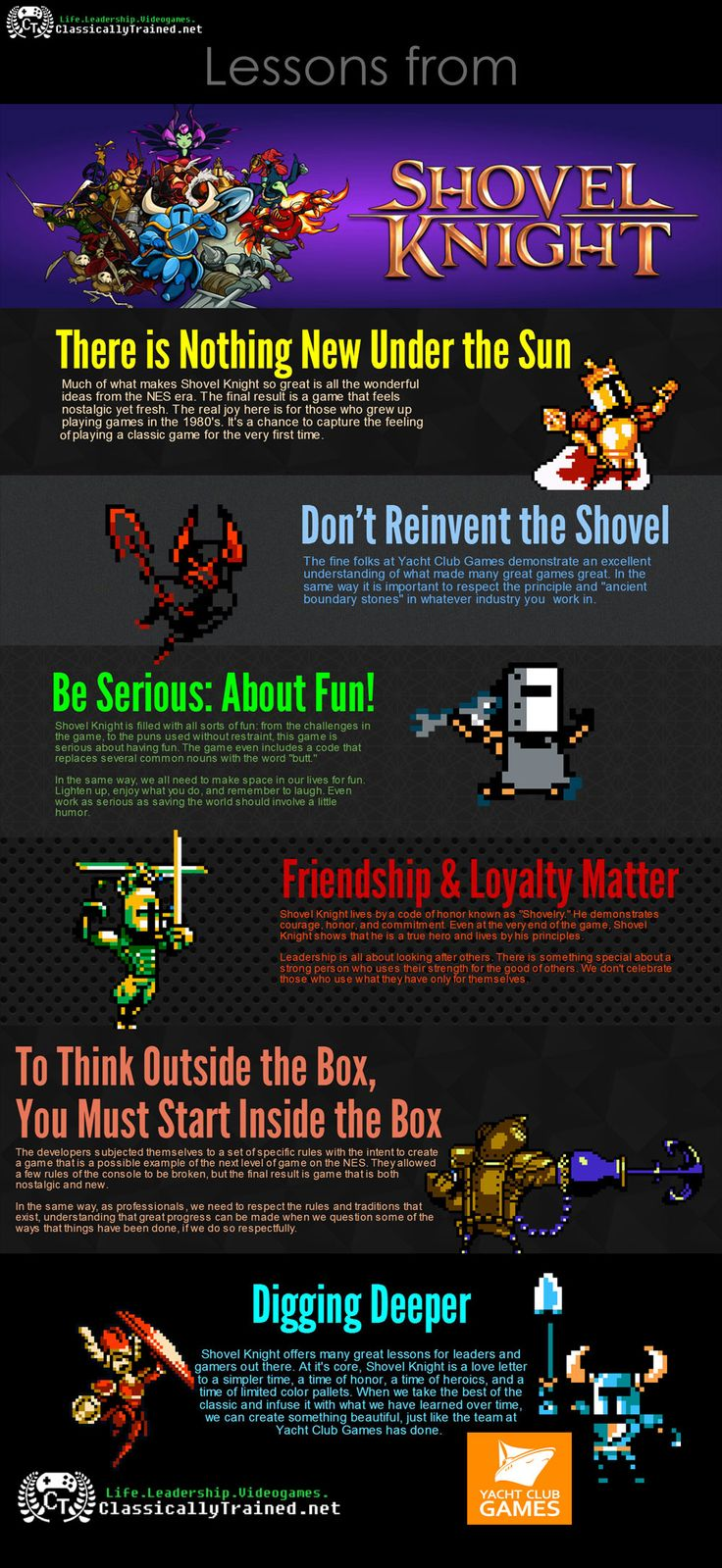 5 Life & Leadership Lessons from Shovel Knight - Infographic