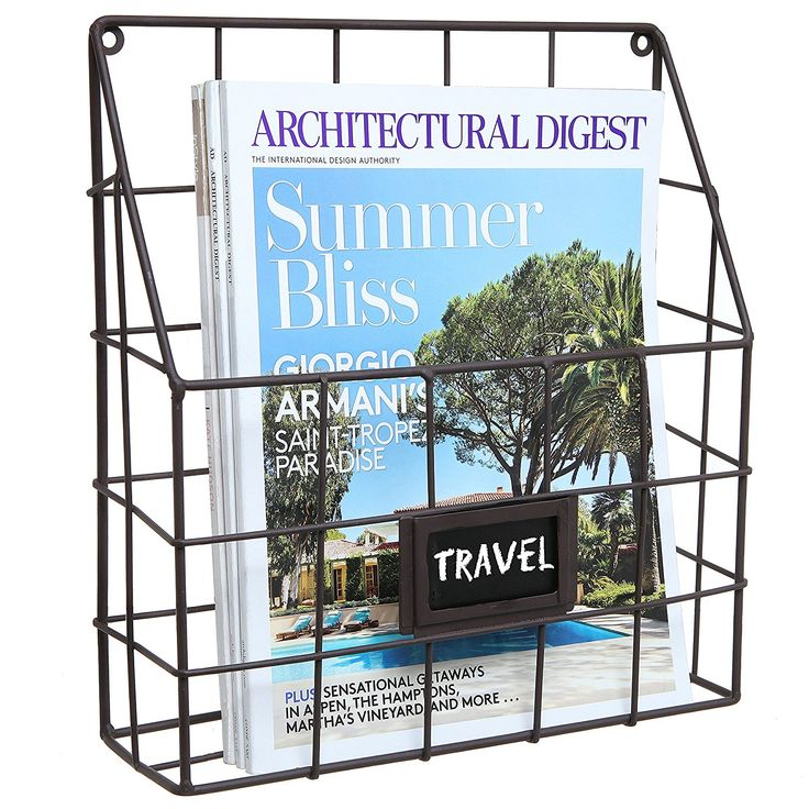 Brown Metal Wire Wall Magazine Rack Bin / Newspaper Rack / Wall Mounted Mail Sorter with Chalkboard Label >>> Trust me, this is great! Click the image. : Magazine Holders