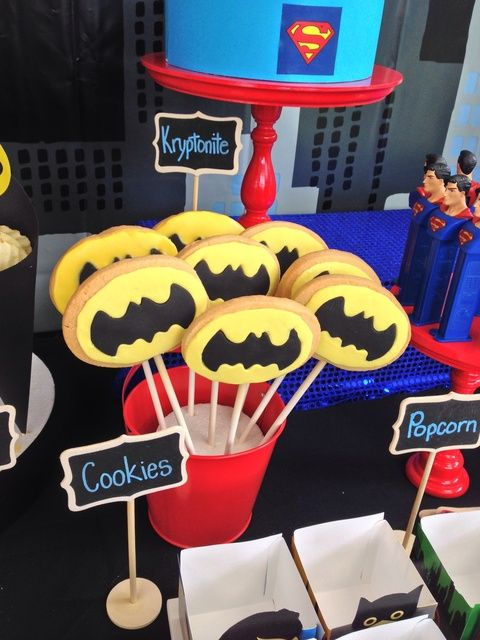 Batman cookies at a Superhero Party!  See more party ideas at CatchMyParty.com!  #partyideas #superhero