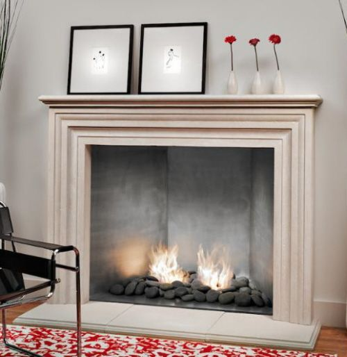 A Modern Gas Fireplace With A Traditional Surround And Mantle. The Effect  Of This Traditional