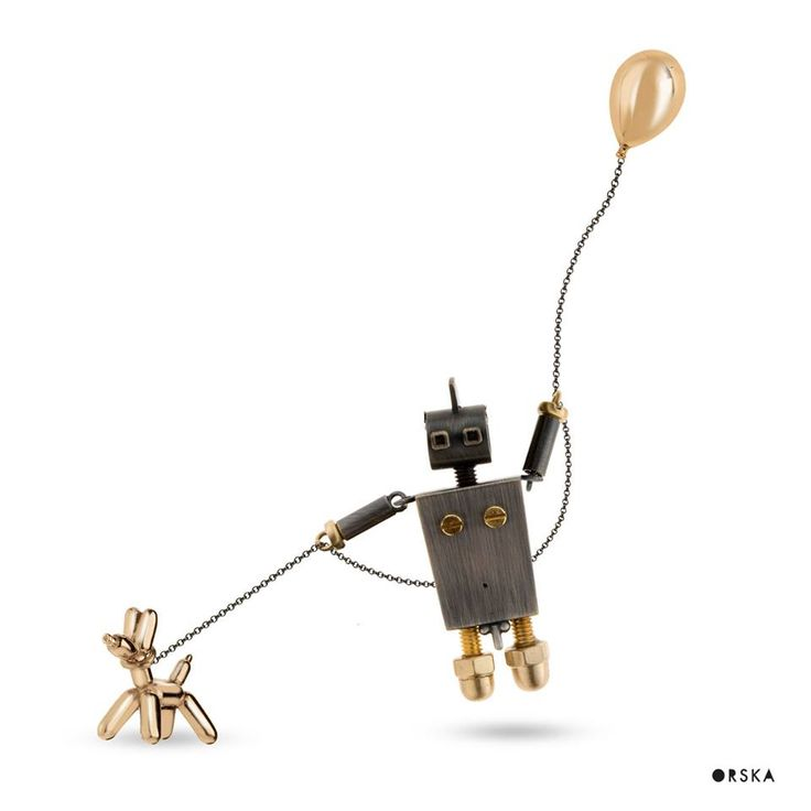 Pure happiness with your best friend on your side :) Puppy OSKAR and balloon from LOVE collection, robot from MACHINY collection by Anna Orska.