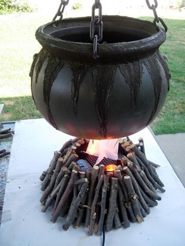 how to make a witchs cauldron fire halloween holidays tutorial - Halloween Witch Decoration