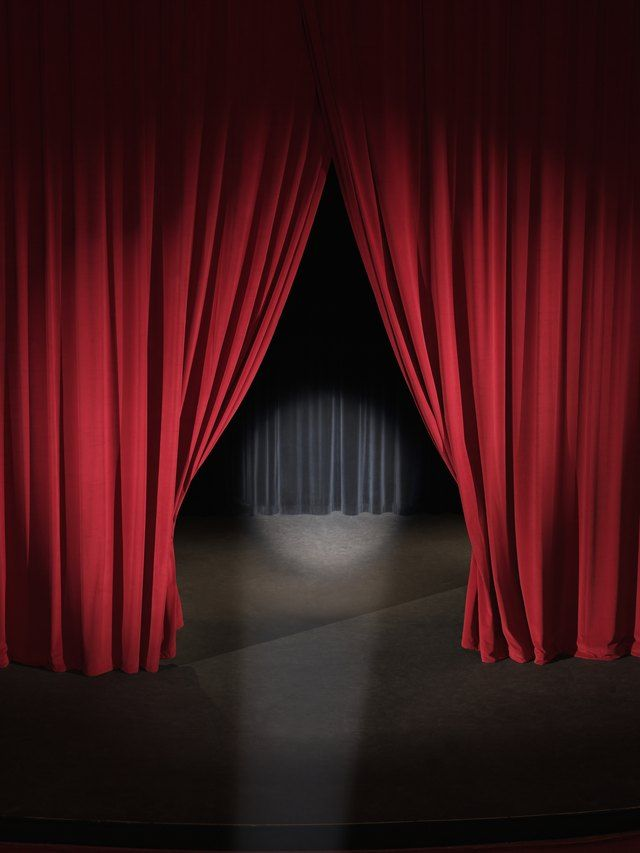 The Curtains Open Slowly Swooping Up From The Center As They Draw Revealing The Stage Waiting For The Players Stage Curtains Curtains Stage Lighting Design