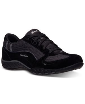 Skechers Women's Relaxed Fit Breathe Easy Just Relax Memory Foam Casual Sneakers from Finish Line - Black