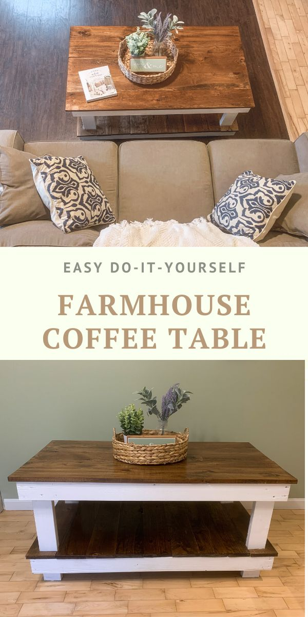 Build this farmhouse style coffee table for under $50 in a weekend. Read my post for the full tutorial on how to build y…