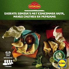 Deze groente somosa's met komkommer raita, mango chutney en papadams zijn gemakkelijk zelf te bereiden! Meer Vitasia recepten ontdekken? Kijk op www.lidl.nl #Vitasia #Lidl