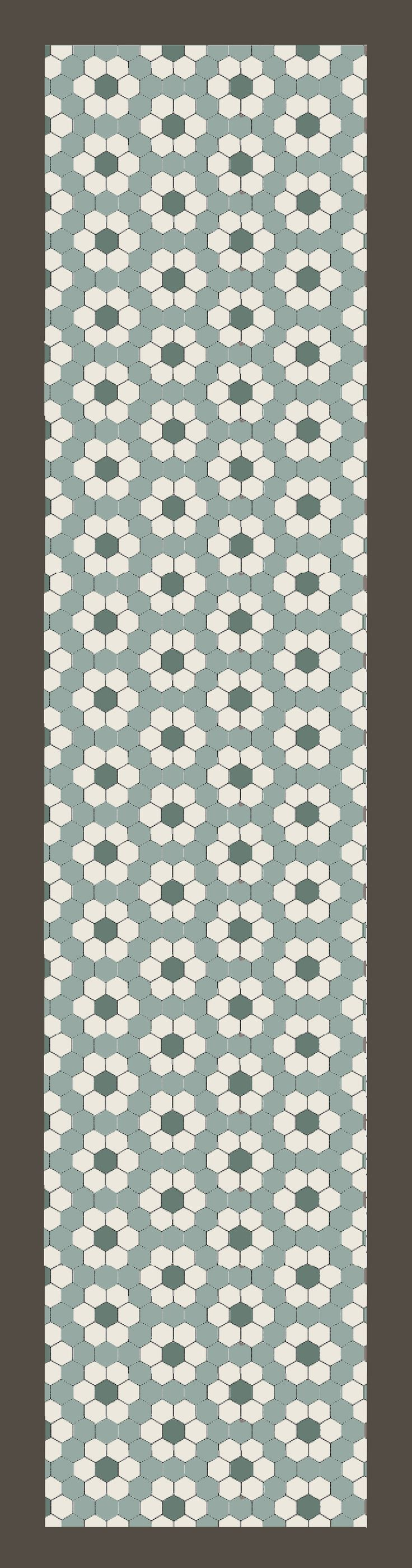 in de gang hexagon 10x10 cm blue pale, blanc vert pale antraciet. vanaf 89 euro per m2. Hexagon tile pattern