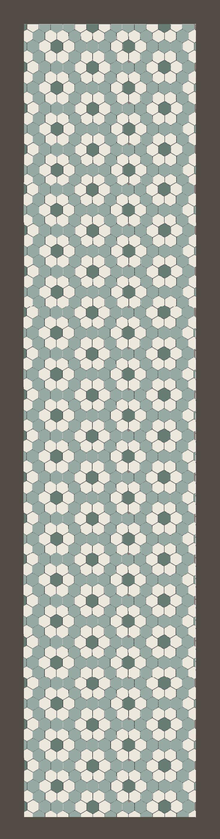 in de gang hexagon 10x10 cm blue pale, blanc vert pale antraciet. vanaf 89 euro per m2. Hexagon tile pattern | via mozaiek.com utrecht  http://mozaiek.com/hexagontegels-gang-matte-poederkleuren-mozaiek-com-hexagonlove/