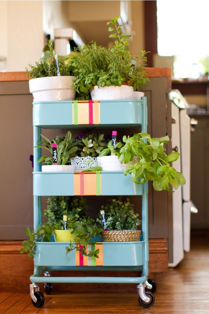 herb garden that you can roll around. Great for apartment living. Bonus: Adorable plant markers.: Idea, Ikea Carts, Indoor Outdoor, Rolls Herbs, Plants Markers, Kitchens Carts, Outdoor Herbs Gardens, Ikea Hackers, Washi Tape