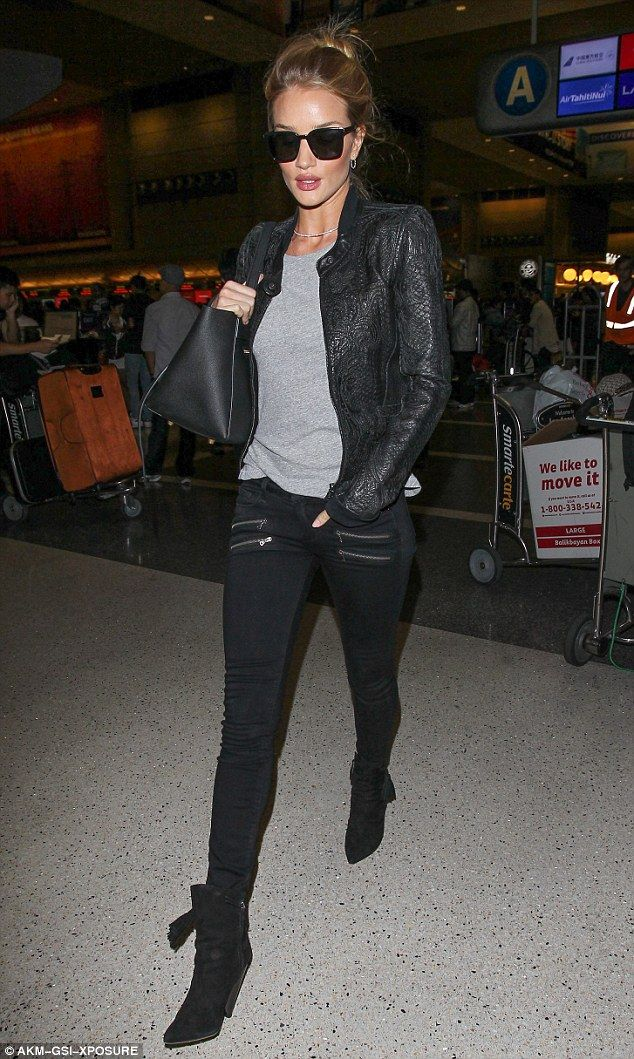 Rosie Huntington-Whiteley showcases her style in skinny jeans and leather jacket | Daily Mail Online