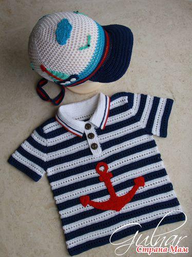 Футболка-поло и кепка - продолжение морской поэмы - Вязание для детей - Страна Мам