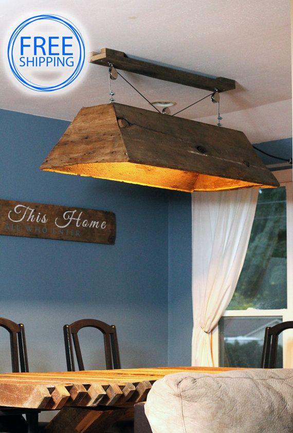 Barn wood light fixture.Pendant light.wood light.rustic kitchen.kitchen light.farmhouse light.country living (Barn wood light)