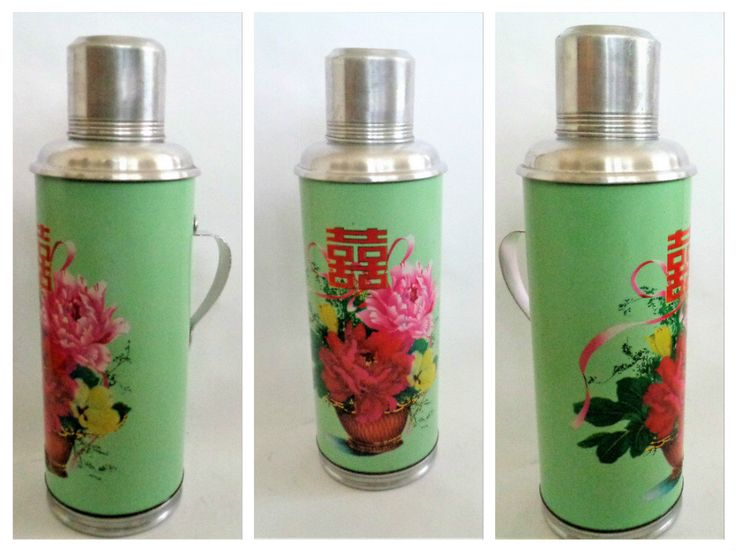 Vintage Thermos, Vacuum Flask, Flower pattern thermos, Chinese Thermos, Green vacuum bottle, Old Travel Thermos, Aluminum Thermos, 2L by LaBoutiqueDeValentin on Etsy https://www.etsy.com/listing/493195813/vintage-thermos-vacuum-flask-flower