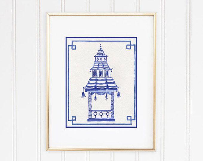 Blue Pagoda Print Chinoiserie Wall Art Hollywood Regency Etsy Chinoiserie Hollywood Regency Decor Art Prints